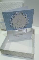 Kartka w pudełku dla Leonka z okazji Chrztu